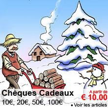 Cheques cadeaux : 10, 20, 50, 100 €
