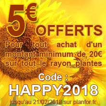 Promo 5€ offert - code: HAPPY2018 - jusqu'au 21/2/2018