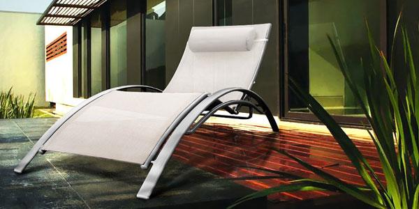 chaise longue bain de soleil aluminium en r sine tress e. Black Bedroom Furniture Sets. Home Design Ideas