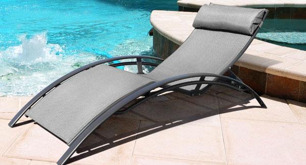 Chaise Longue Design En Textilne Gris Et Aluminium Noir Mat