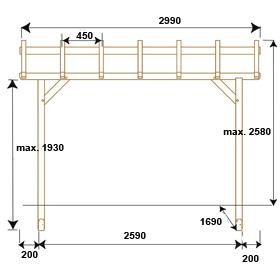 pergola bois dimensions. Black Bedroom Furniture Sets. Home Design Ideas