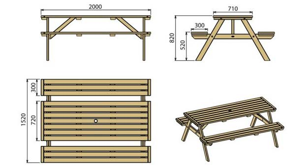 fabriquer une table de picnic en bois. Black Bedroom Furniture Sets. Home Design Ideas