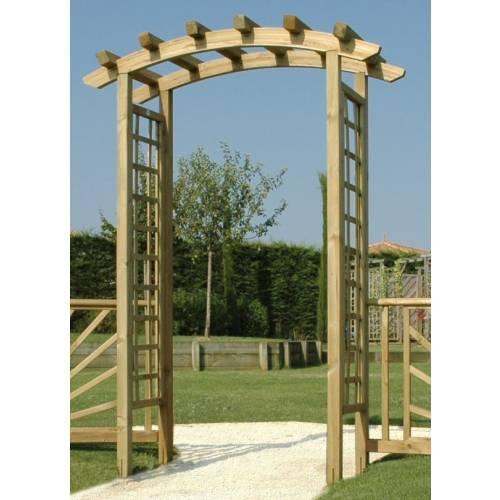 Pergola bois en arc sp ciale entr e vente pergola bois for Arc de jardin en bois