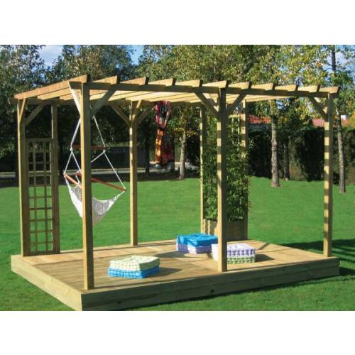 pergola double droite en bois val riane penmie bee. Black Bedroom Furniture Sets. Home Design Ideas