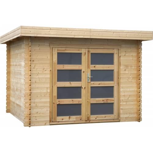 Abri de jardin en bois bois 28 mm 8 88 m2 vente abri for Cabanon en bois toit plat