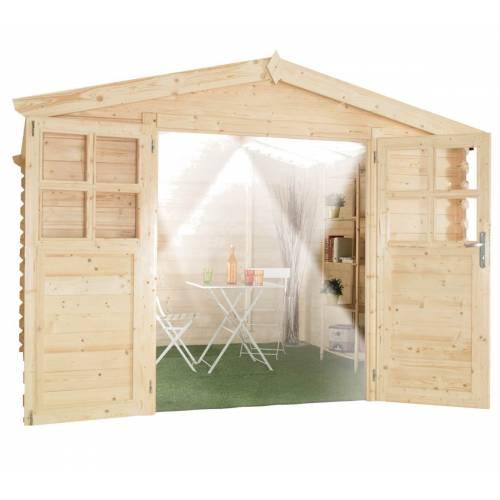 Abri de jardin en bois soleil bois 28 mm 12 m2 vente for Abri de jardin 12 m2