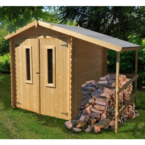 Abri de jardin en bois avec b cher 4 m2 vente abri de - Abris de jardin avec bucher ...