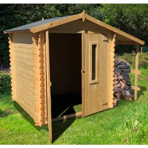 Abri de jardin en bois avec b cher 4 m2 vente abri de for Abri de jardin bois avec bucher
