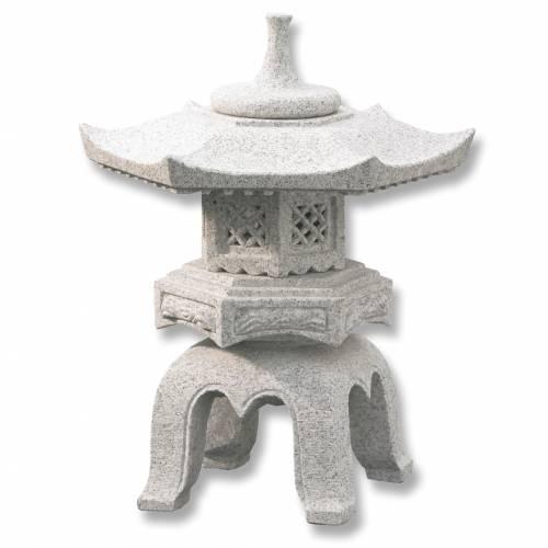 Lanterne japonaise en granit rokakuyukimi h056 vente for Lampe japonaise exterieur