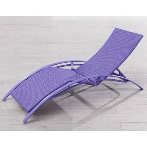 Chaise longue en r sine tress e violet vente chaise - Chaise longue resine tressee ...