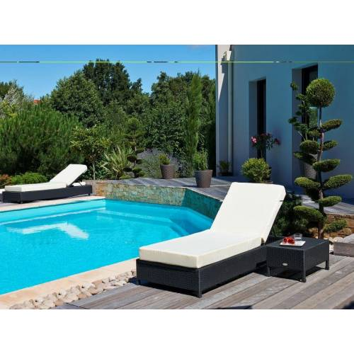 lit de piscine en r sine tress e noir vente lit de. Black Bedroom Furniture Sets. Home Design Ideas