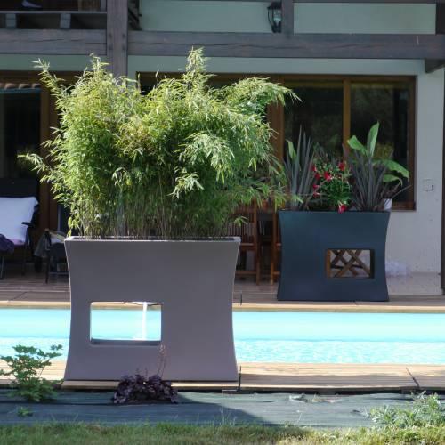 jardini re design 100x45 x h80cm gris vente. Black Bedroom Furniture Sets. Home Design Ideas