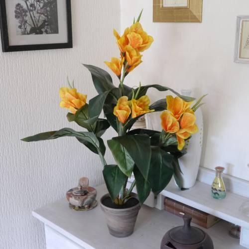Plante artificielle canna jaune mica vente plante for Plante jaune