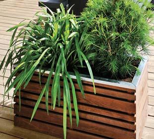 Wood and metal planter LIGN Z 100